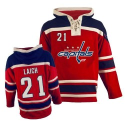 Washington Capitals Brooks Laich Official Red Old Time Hockey Authentic Adult Sawyer Hooded Sweatshirt Jersey