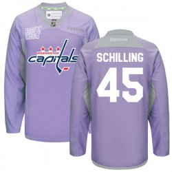 Washington Capitals Cameron Schilling Official Purple Reebok Premier Adult 2016 Hockey Fights Cancer Practice Jersey