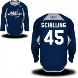 Washington Capitals Cameron Schilling Official Navy Blue Reebok Premier Adult Practice Team NHL Hockey Jersey