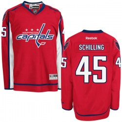 Washington Capitals Cameron Schilling Official Red Reebok Authentic Adult Home NHL Hockey Jersey