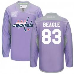 Washington Capitals Jay Beagle Official Purple Reebok Premier Adult 2016 Hockey Fights Cancer Practice Jersey