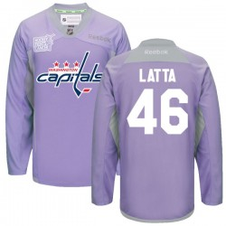 Washington Capitals Michael Latta Official Purple Reebok Authentic Adult 2016 Hockey Fights Cancer Practice Jersey