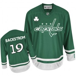 Washington Capitals Nicklas Backstrom Official Green Reebok Authentic Youth St Patty's Day NHL Hockey Jersey