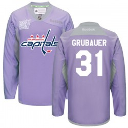 Washington Capitals Philipp Grubauer Official Purple Reebok Authentic Adult 2016 Hockey Fights Cancer Practice Jersey