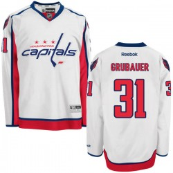 Washington Capitals Philipp Grubauer Official White Reebok Authentic Adult Away NHL Hockey Jersey