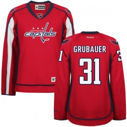 Washington Capitals Philipp Grubauer Official Red Reebok Authentic Women's Home NHL Hockey Jersey