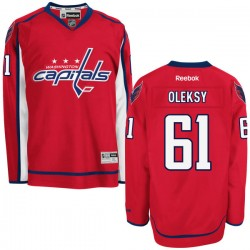 Washington Capitals Steve Oleksy Official Red Reebok Premier Adult Home NHL Hockey Jersey