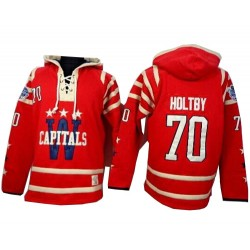 Washington Capitals Braden Holtby Official Red Old Time Hockey Authentic Adult 2015 Winter Classic Sawyer Hooded Sweatshirt Jers