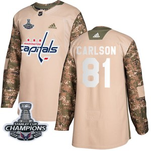 Washington Capitals Adam Carlson Official Camo Adidas Authentic Youth Veterans Day Practice 2018 Stanley Cup Champions Patch NHL