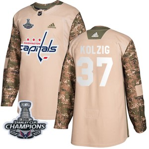 Washington Capitals Olaf Kolzig Official Camo Adidas Authentic Youth Veterans Day Practice 2018 Stanley Cup Champions Patch NHL