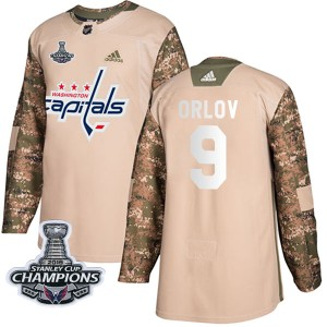 Washington Capitals Dmitry Orlov Official Camo Adidas Authentic Youth Veterans Day Practice 2018 Stanley Cup Champions Patch NHL