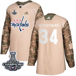 Washington Capitals Jonas Siegenthaler Official Camo Adidas Authentic Youth Veterans Day Practice 2018 Stanley Cup Champions Pat