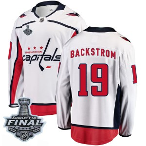 Washington Capitals Nicklas Backstrom Official White Fanatics Branded Breakaway Youth Away 2018 Stanley Cup Final Patch NHL Hock