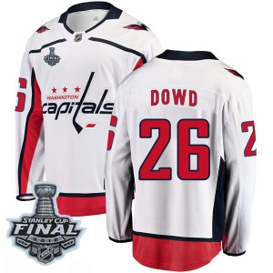 Washington Capitals Nic Dowd Official White Fanatics Branded Breakaway Youth Away 2018 Stanley Cup Final Patch NHL Hockey Jersey