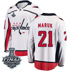 Washington Capitals Dennis Maruk Official White Fanatics Branded Breakaway Youth Away 2018 Stanley Cup Final Patch NHL Hockey Je