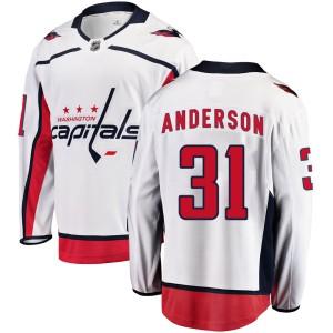 Washington Capitals Craig Anderson Official White Fanatics Branded Breakaway Youth Away NHL Hockey Jersey