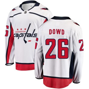 Washington Capitals Nic Dowd Official White Fanatics Branded Breakaway Youth Away NHL Hockey Jersey
