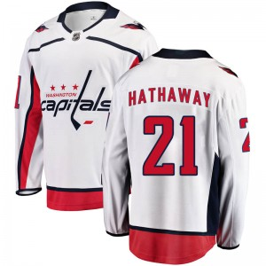 Washington Capitals Garnet Hathaway Official White Fanatics Branded Breakaway Youth Away NHL Hockey Jersey
