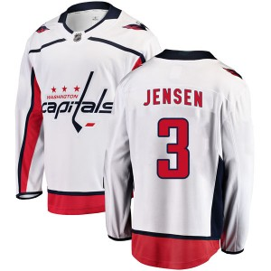 Washington Capitals Nick Jensen Official White Fanatics Branded Breakaway Youth Away NHL Hockey Jersey
