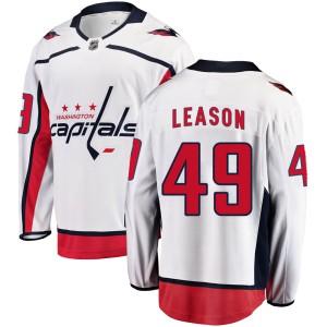 Washington Capitals Brett Leason Official White Fanatics Branded Breakaway Youth Away NHL Hockey Jersey
