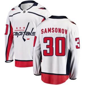 Washington Capitals Ilya Samsonov Official White Fanatics Branded Breakaway Youth Away NHL Hockey Jersey