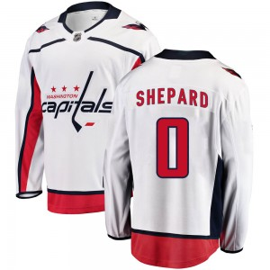 Washington Capitals Hunter Shepard Official White Fanatics Branded Breakaway Youth Away NHL Hockey Jersey