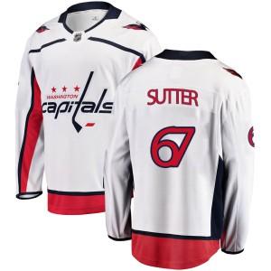 Washington Capitals Riley Sutter Official White Fanatics Branded Breakaway Youth Away NHL Hockey Jersey