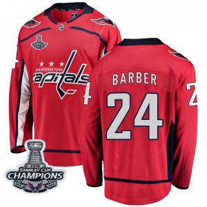 Washington Capitals Riley Barber Official Red Fanatics Branded Breakaway Youth Home 2018 Stanley Cup Champions Patch NHL Hockey