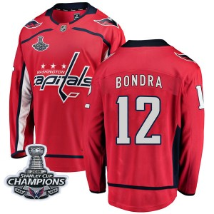 Washington Capitals Peter Bondra Official Red Fanatics Branded Breakaway Youth Home 2018 Stanley Cup Champions Patch NHL Hockey