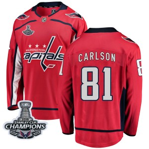 Washington Capitals Adam Carlson Official Red Fanatics Branded Breakaway Youth Home 2018 Stanley Cup Champions Patch NHL Hockey