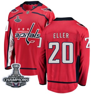Washington Capitals Lars Eller Official Red Fanatics Branded Breakaway Youth Home 2018 Stanley Cup Champions Patch NHL Hockey Je