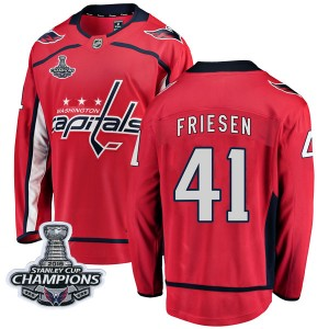 Washington Capitals Jeff Friesen Official Red Fanatics Branded Breakaway Youth Home 2018 Stanley Cup Champions Patch NHL Hockey