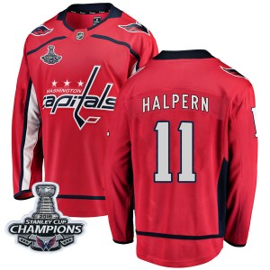 Washington Capitals Jeff Halpern Official Red Fanatics Branded Breakaway Youth Home 2018 Stanley Cup Champions Patch NHL Hockey
