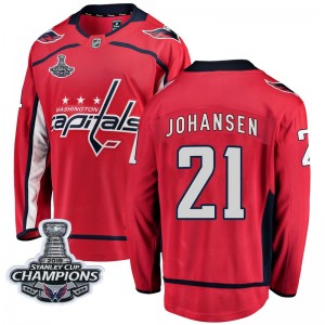 Washington Capitals Lucas Johansen Official Red Fanatics Branded Breakaway Youth Home 2018 Stanley Cup Champions Patch NHL Hocke