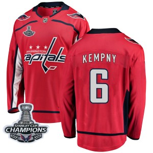 Washington Capitals Michal Kempny Official Red Fanatics Branded Breakaway Youth Home 2018 Stanley Cup Champions Patch NHL Hockey