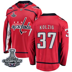 Washington Capitals Olaf Kolzig Official Red Fanatics Branded Breakaway Youth Home 2018 Stanley Cup Champions Patch NHL Hockey J