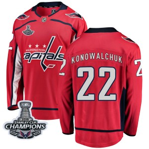 Washington Capitals Steve Konowalchuk Official Red Fanatics Branded Breakaway Youth Home 2018 Stanley Cup Champions Patch NHL Ho