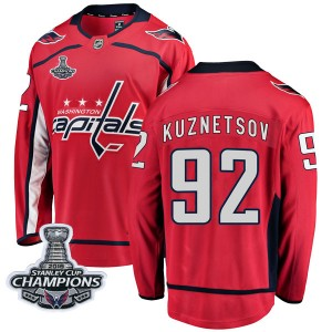 Washington Capitals Evgeny Kuznetsov Official Red Fanatics Branded Breakaway Youth Home 2018 Stanley Cup Champions Patch NHL Hoc