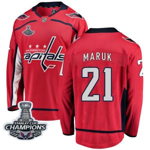 Washington Capitals Dennis Maruk Official Red Fanatics Branded Breakaway Youth Home 2018 Stanley Cup Champions Patch NHL Hockey