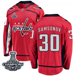 Washington Capitals Ilya Samsonov Official Red Fanatics Branded Breakaway Youth Home 2018 Stanley Cup Champions Patch NHL Hockey