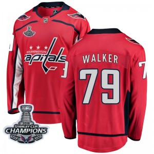 Washington Capitals Nathan Walker Official Red Fanatics Branded Breakaway Youth Home 2018 Stanley Cup Champions Patch NHL Hockey