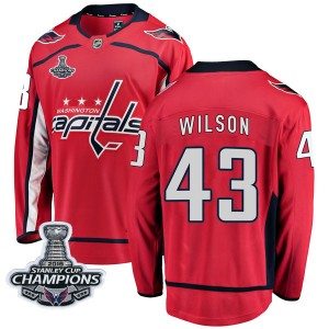 Washington Capitals Tom Wilson Official Red Fanatics Branded Breakaway Youth Home 2018 Stanley Cup Champions Patch NHL Hockey Je