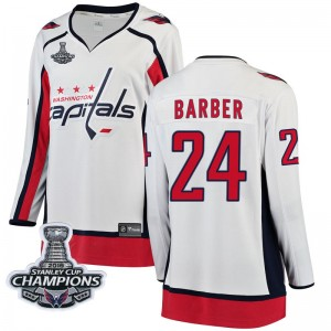 Washington Capitals Riley Barber Official White Fanatics Branded Breakaway Women's Away 2018 Stanley Cup Champions Patch NHL Hoc