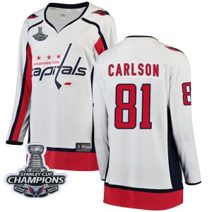Washington Capitals Adam Carlson Official White Fanatics Branded Breakaway Women's Away 2018 Stanley Cup Champions Patch NHL Hoc