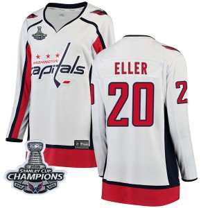 Washington Capitals Lars Eller Official White Fanatics Branded Breakaway Women's Away 2018 Stanley Cup Champions Patch NHL Hocke