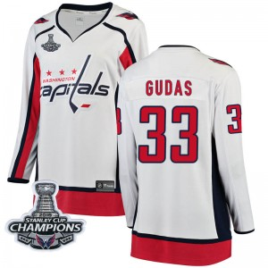 Washington Capitals Radko Gudas Official White Fanatics Branded Breakaway Women's Away 2018 Stanley Cup Champions Patch NHL Hock
