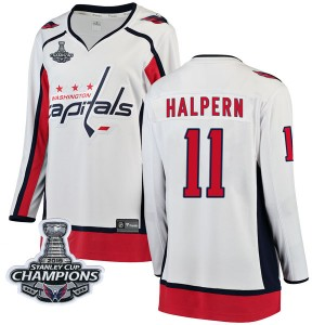Washington Capitals Jeff Halpern Official White Fanatics Branded Breakaway Women's Away 2018 Stanley Cup Champions Patch NHL Hoc