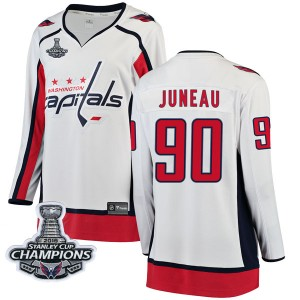 Washington Capitals Joe Juneau Official White Fanatics Branded Breakaway Women's Away 2018 Stanley Cup Champions Patch NHL Hocke