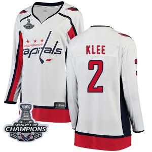 Washington Capitals Ken Klee Official White Fanatics Branded Breakaway Women's Away 2018 Stanley Cup Champions Patch NHL Hockey