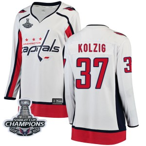 Washington Capitals Olaf Kolzig Official White Fanatics Branded Breakaway Women's Away 2018 Stanley Cup Champions Patch NHL Hock